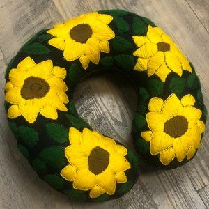 Mexican Handmade Embroidered Neck Pillow Sunflower